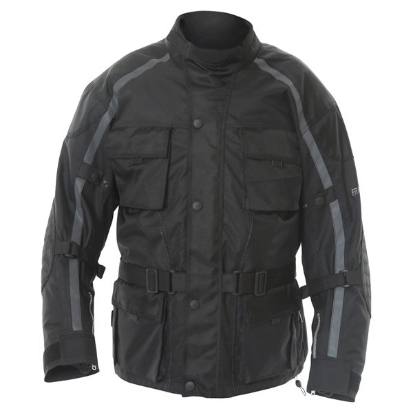Frank Thomas George Mens Black Textile Motorcycle Jacket Front