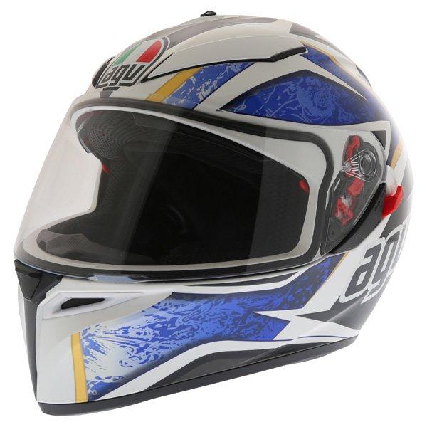 AGV K3 SV Vulcan White Black Blue Full Face Motorcycle Helmet Front Left