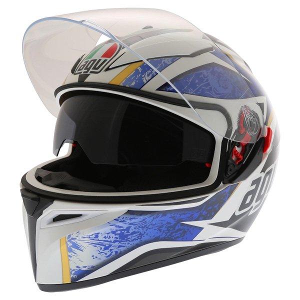 AGV K3 SV Vulcan White Black Blue Full Face Motorcycle Helmet Open With Sun Visor