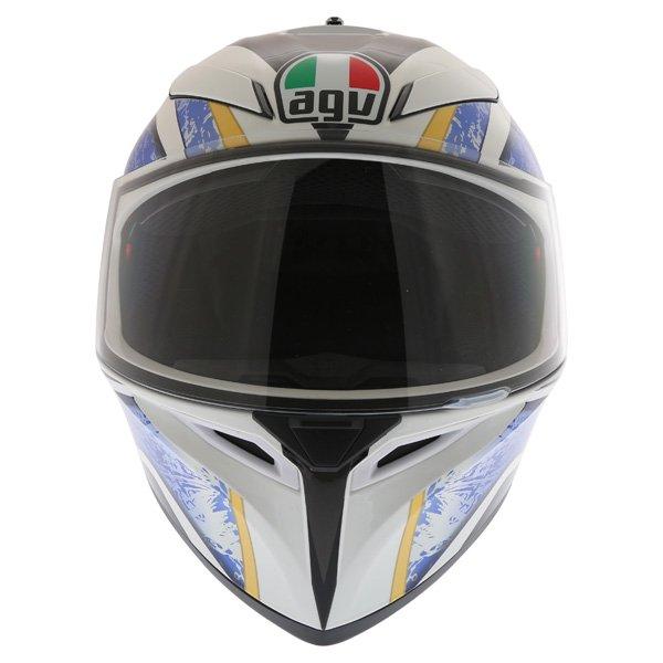 AGV K3 SV Vulcan White Black Blue Full Face Motorcycle Helmet Front