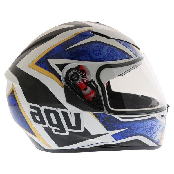 AGV K3 SV Vulcan White Black Blue Full Face Motorcycle Helmet Right Side