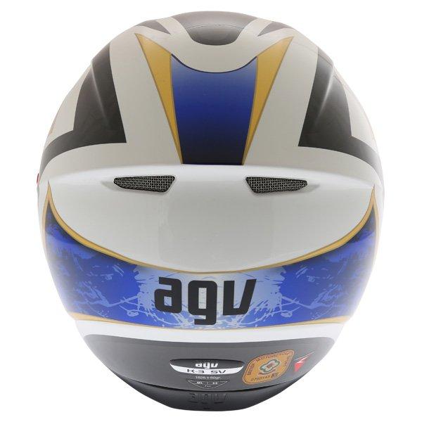 AGV K3 SV Vulcan White Black Blue Full Face Motorcycle Helmet Back