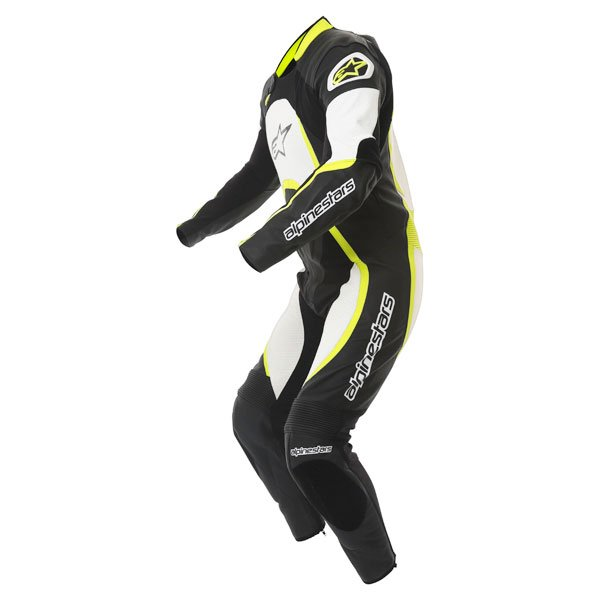 Alpinestars Orbiter Mens Black White Yellow Leather Motorcycle Suit Racing crouch