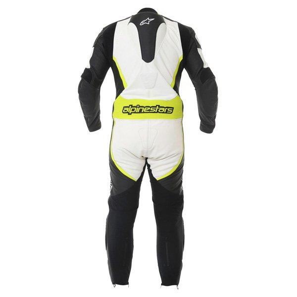 Alpinestars Orbiter Mens Black White Yellow Leather Motorcycle Suit Back