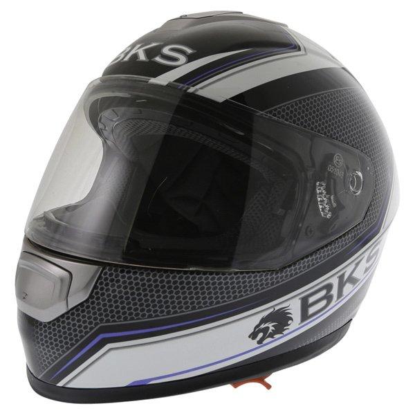 BKS Podium Black White Blue Full Face Motorcycle Helmet Front Left