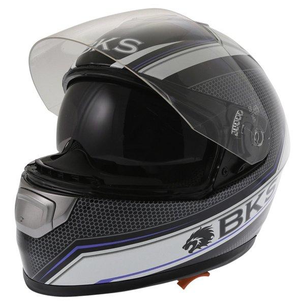BKS Podium Black White Blue Full Face Motorcycle Helmet Open With Sun Visor