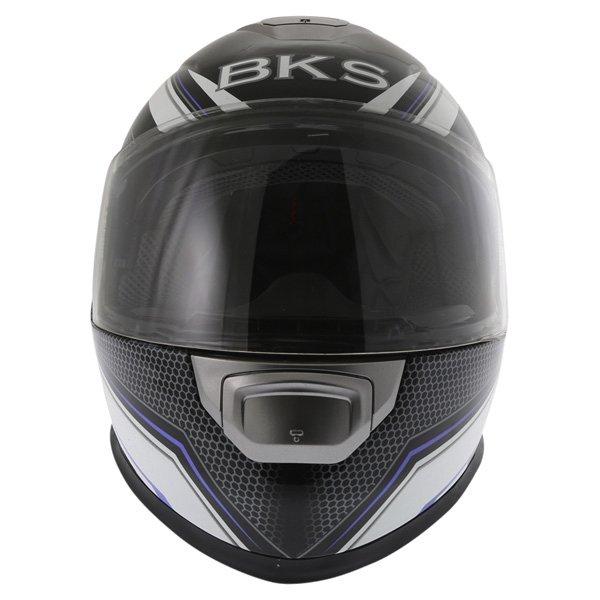BKS Podium Black White Blue Full Face Motorcycle Helmet Front