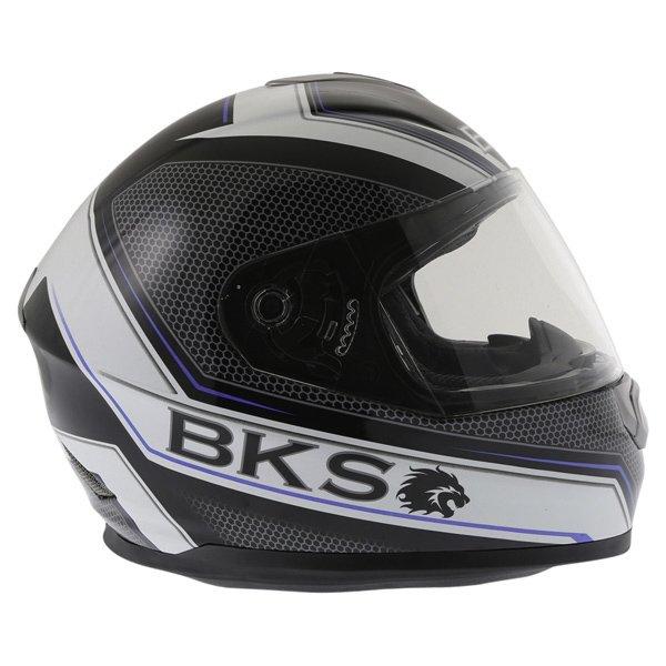 BKS Podium Black White Blue Full Face Motorcycle Helmet Right Side