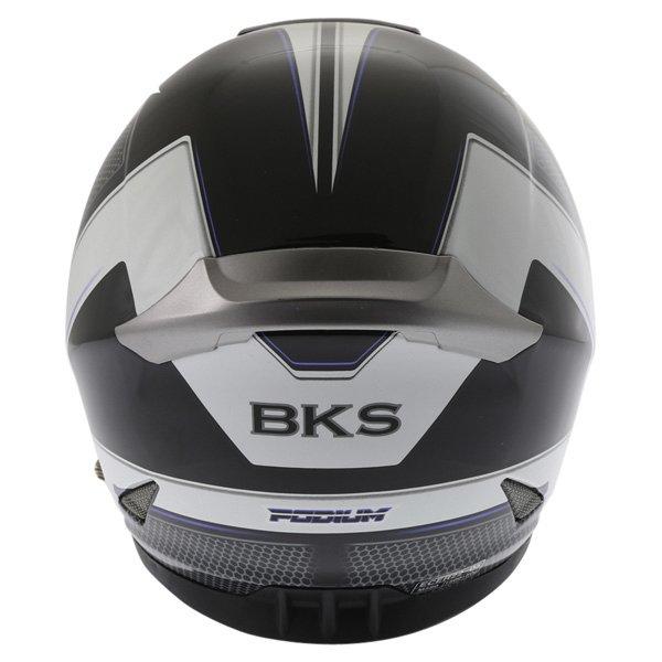 BKS Podium Black White Blue Full Face Motorcycle Helmet Back