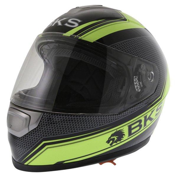 BKS Podium Black Flo Yellow Full Face Motorcycle Helmet Front Left