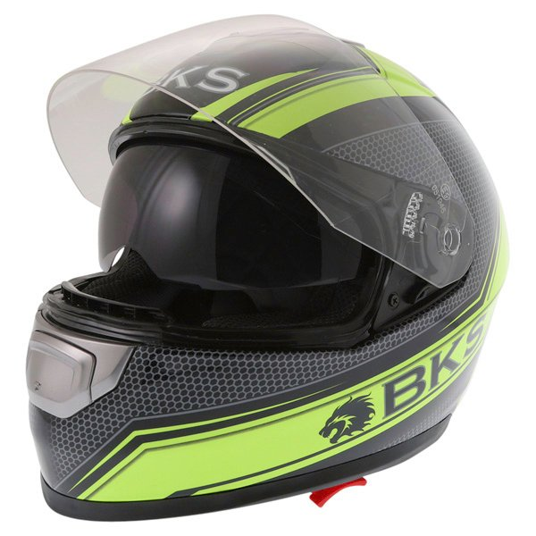 BKS Podium Black Flo Yellow Full Face Motorcycle Helmet Open With Sun Visor