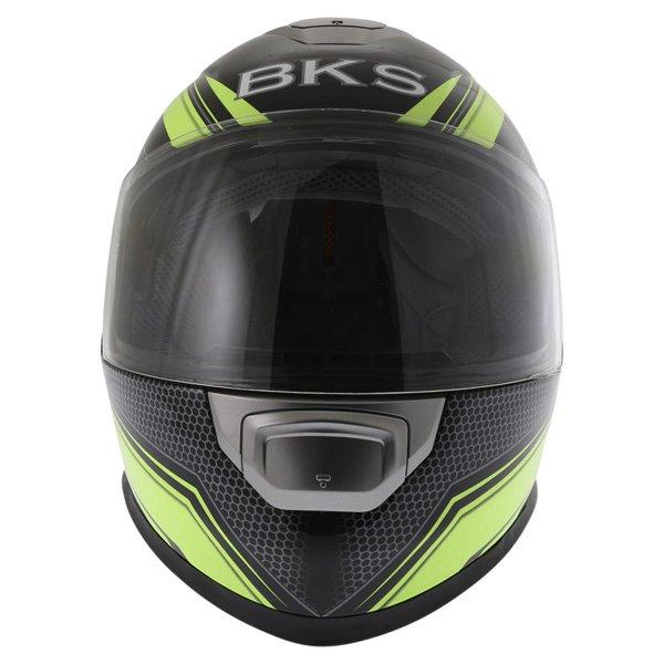 BKS Podium Black Flo Yellow Full Face Motorcycle Helmet Front