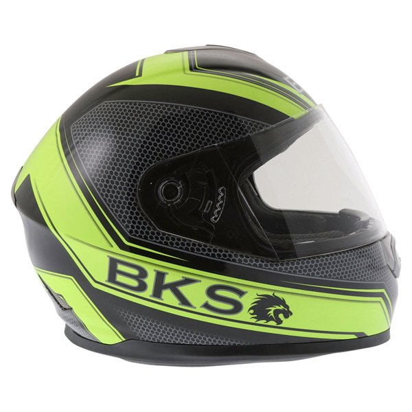 BKS Podium Black Flo Yellow Full Face Motorcycle Helmet Right Side