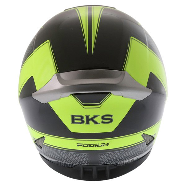 BKS Podium Black Flo Yellow Full Face Motorcycle Helmet Back