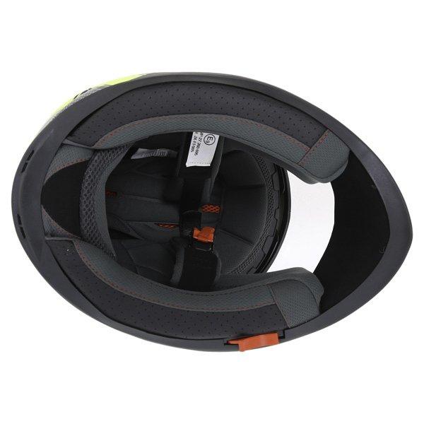 BKS Podium Black Flo Yellow Full Face Motorcycle Helmet Inside