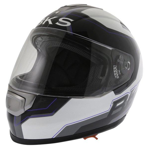 BKS Logo Black White Blue Full Face Motorcycle Helmet Front Left