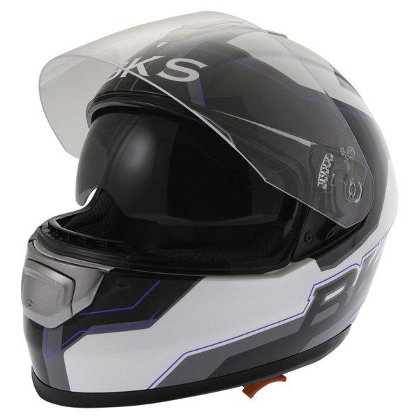BKS Logo Black White Blue Full Face Motorcycle Helmet Open With Sun Visor