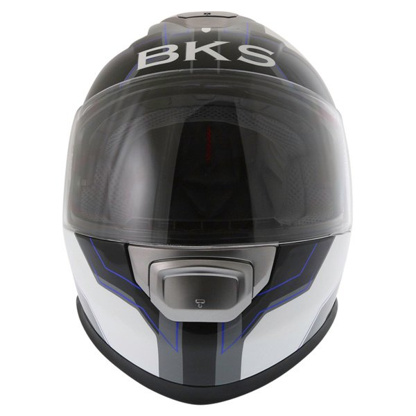 BKS Logo Black White Blue Full Face Motorcycle Helmet Front