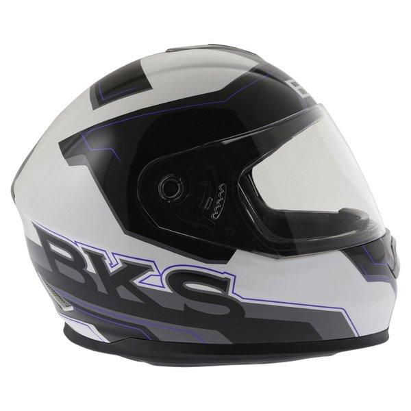 BKS Logo Black White Blue Full Face Motorcycle Helmet Right Side