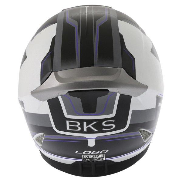 BKS Logo Black White Blue Full Face Motorcycle Helmet Back