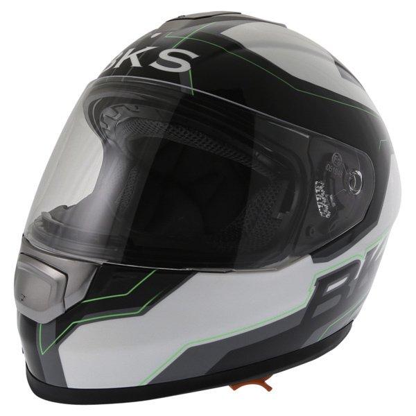 BKS Logo Black White Green Full Face Motorcycle Helmet Front Left