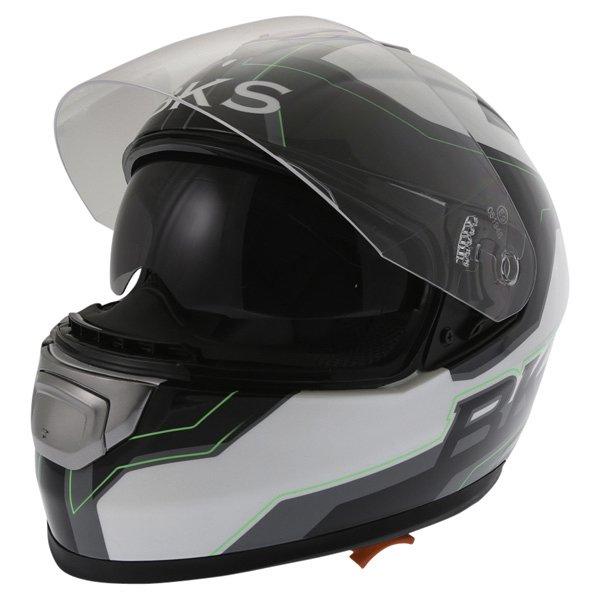 BKS Logo Black White Green Full Face Motorcycle Helmet Open With Sun Visor