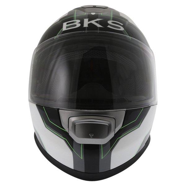 BKS Logo Black White Green Full Face Motorcycle Helmet Front