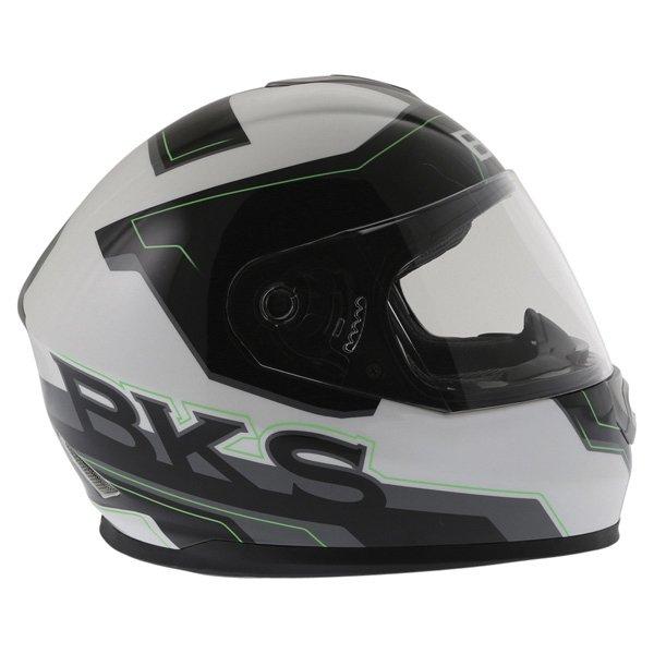 BKS Logo Black White Green Full Face Motorcycle Helmet Right Side