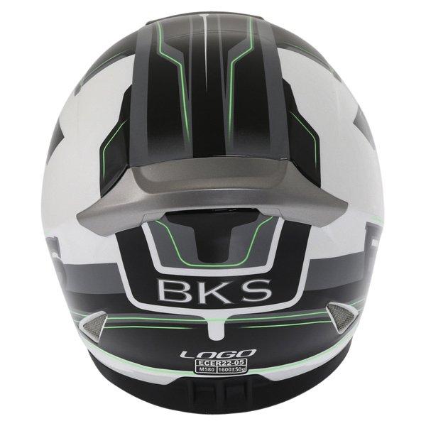 BKS Logo Black White Green Full Face Motorcycle Helmet Back