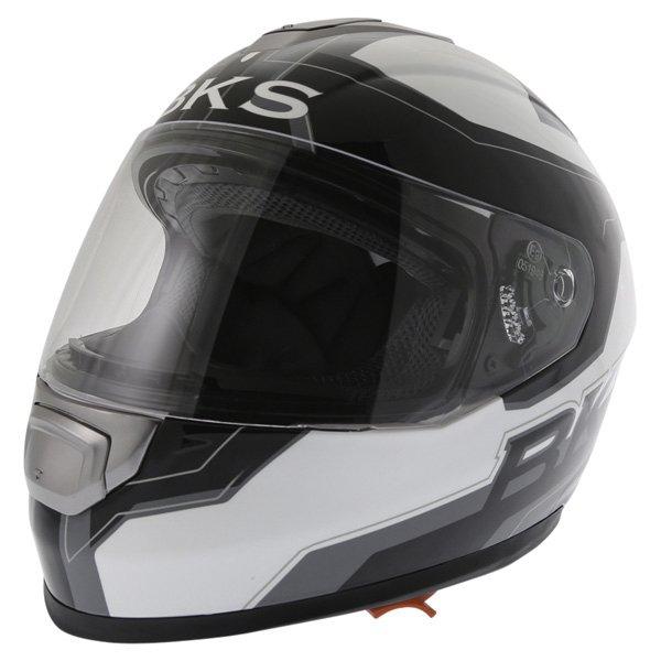 BKS Logo Black White Grey Full Face Motorcycle Helmet Front Left