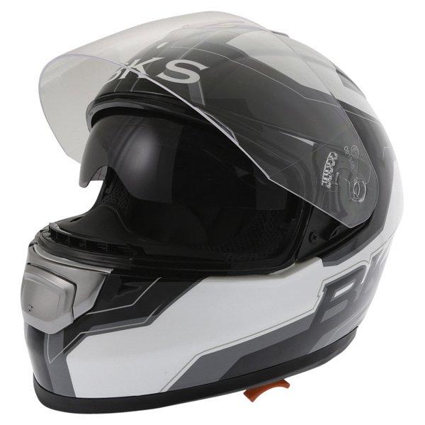 BKS Logo Black White Grey Full Face Motorcycle Helmet Open With Sun Visor
