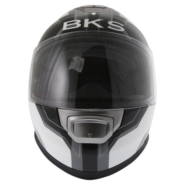BKS Logo Black White Grey Full Face Motorcycle Helmet Front