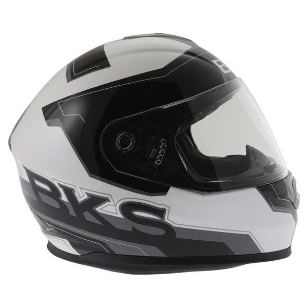 BKS Logo Black White Grey Full Face Motorcycle Helmet Right Side