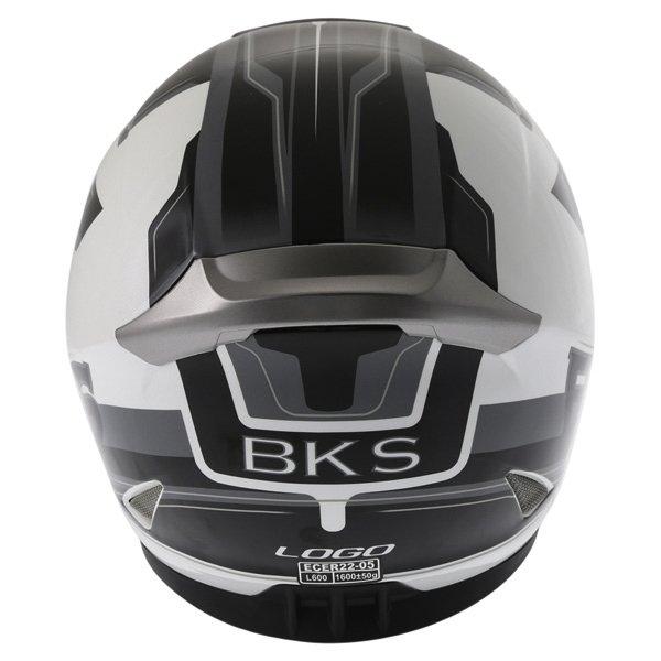 BKS Logo Black White Grey Full Face Motorcycle Helmet Back