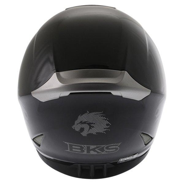 BKS Plain 2014 Black Full Face Motorcycle Helmet Back