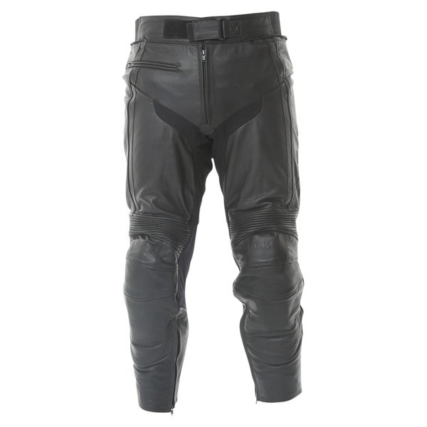 BKS Fury Black Leather Motorcycle Jeans Front