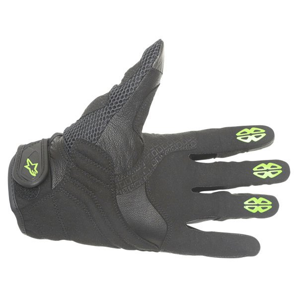 Alpinestars M30 Air Monster Black Green Motorcycle Gloves Palm