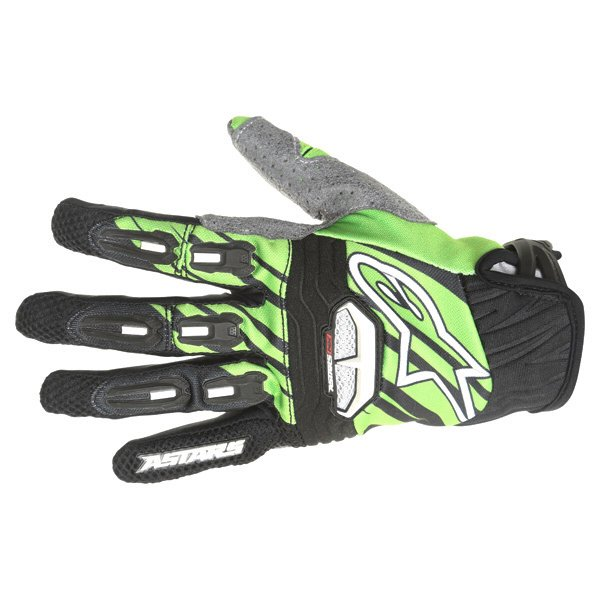 Alpinestars Techstar Black Green Motocross Gloves Back