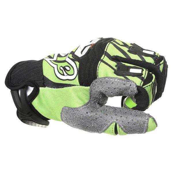 Alpinestars Techstar Black Green Motocross Gloves Knuckle