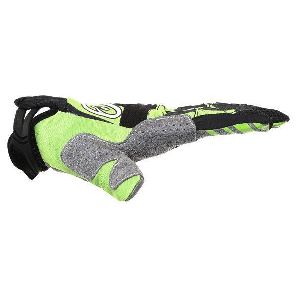Alpinestars Techstar Black Green Motocross Gloves Thumb side