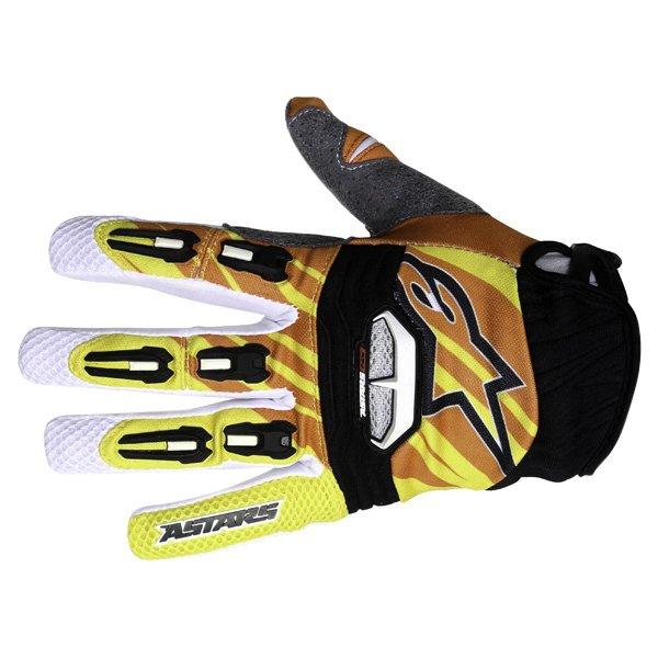 Alpinestars Techstar Yellow Orange White Motocross Gloves Back