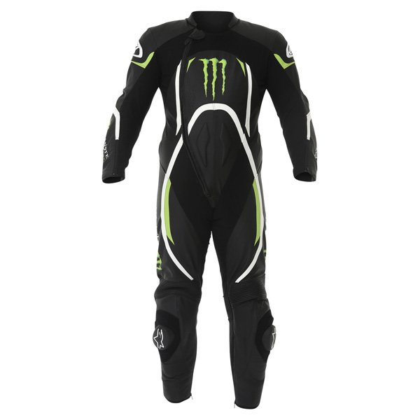 Alpinestars Xelos 1pc Monster Mens Black Green Leather Motorcycle Suit Front