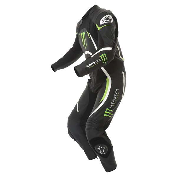 Alpinestars Xelos 1pc Monster Mens Black Green Leather Motorcycle Suit Racing crouch