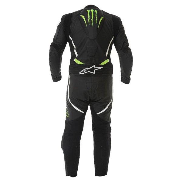 Alpinestars Xelos 1pc Monster Mens Black Green Leather Motorcycle Suit Back