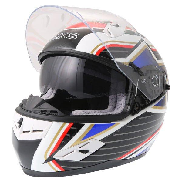 BKS 8 Flag Series Union Jack Full Face Motorcycle Helmet Open With Sun Visor