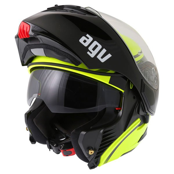 AGV Compact Course Yellow Black Flip Front Motorcycle Helmet Flip Open