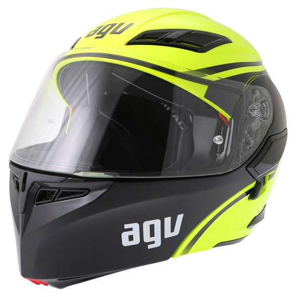 AGV Compact Course Yellow Black Flip Front Motorcycle Helmet Front Left