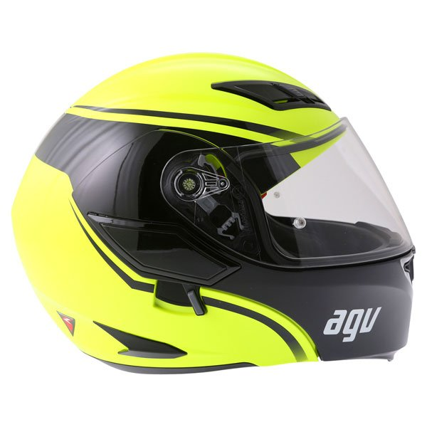 AGV Compact Course Yellow Black Flip Front Motorcycle Helmet Right Side
