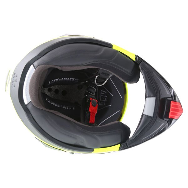 AGV Compact Course Yellow Black Flip Front Motorcycle Helmet Inside