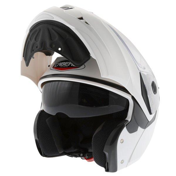 Caberg Duke White Flip Front Motorcycle Helmet Open With Sun Visor